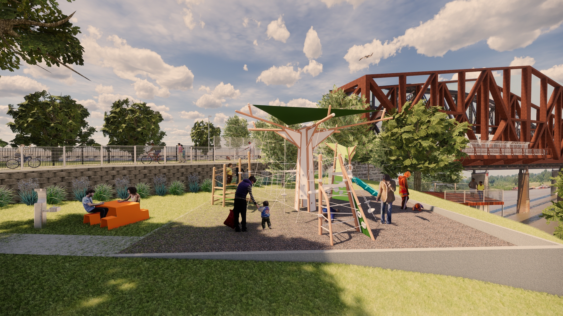 A conceptual rendering created voluntarily by church member Kate Haygood of brg3s architects to show how a portion of the playground might ultimately look. The items seen in the rendering are only rough concepts and not final designs.