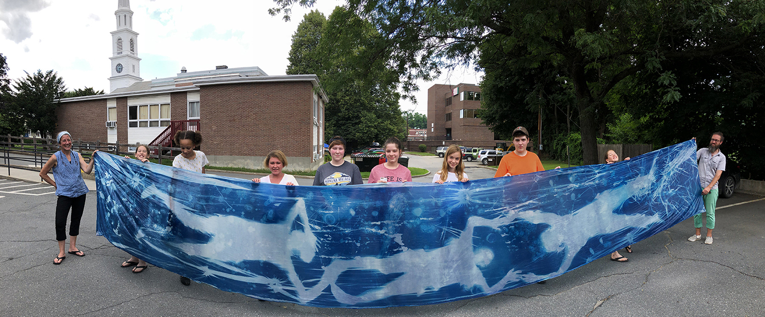 InSight Photography workshop with finished cyanotype banner