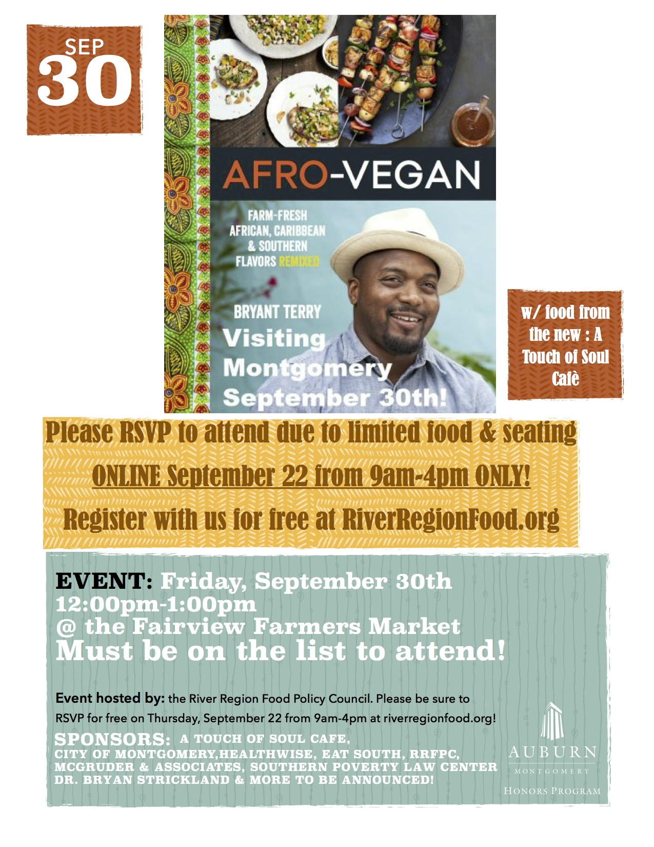Afro-Vegan Chef Bryant Terry Montgomery Event Poster