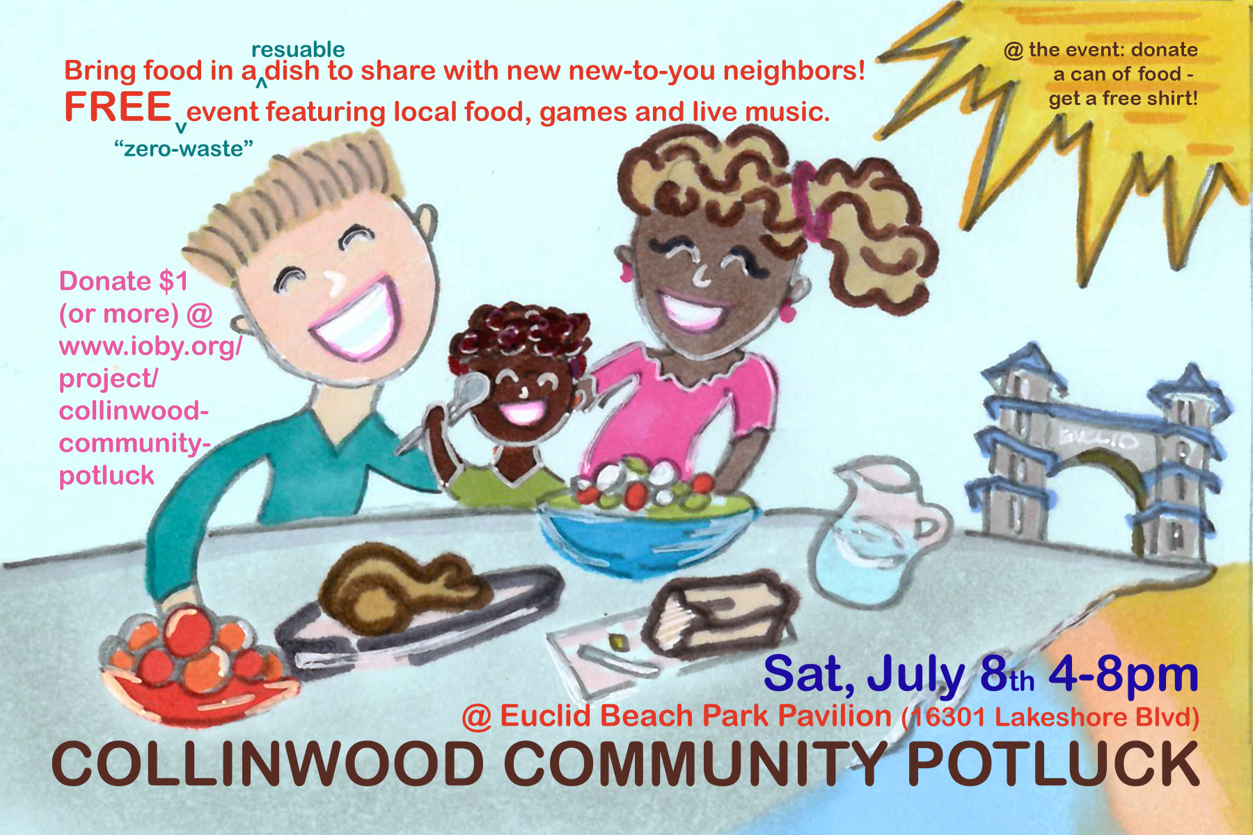 Join us at the Collinwood Community Potluck for food, fun and great neighbors in an awesome neighborhood. We are raising funds to put on the event through Ioby.org. Please consider a donation and save-the-date for the Potluck on Saturday, July 8th.