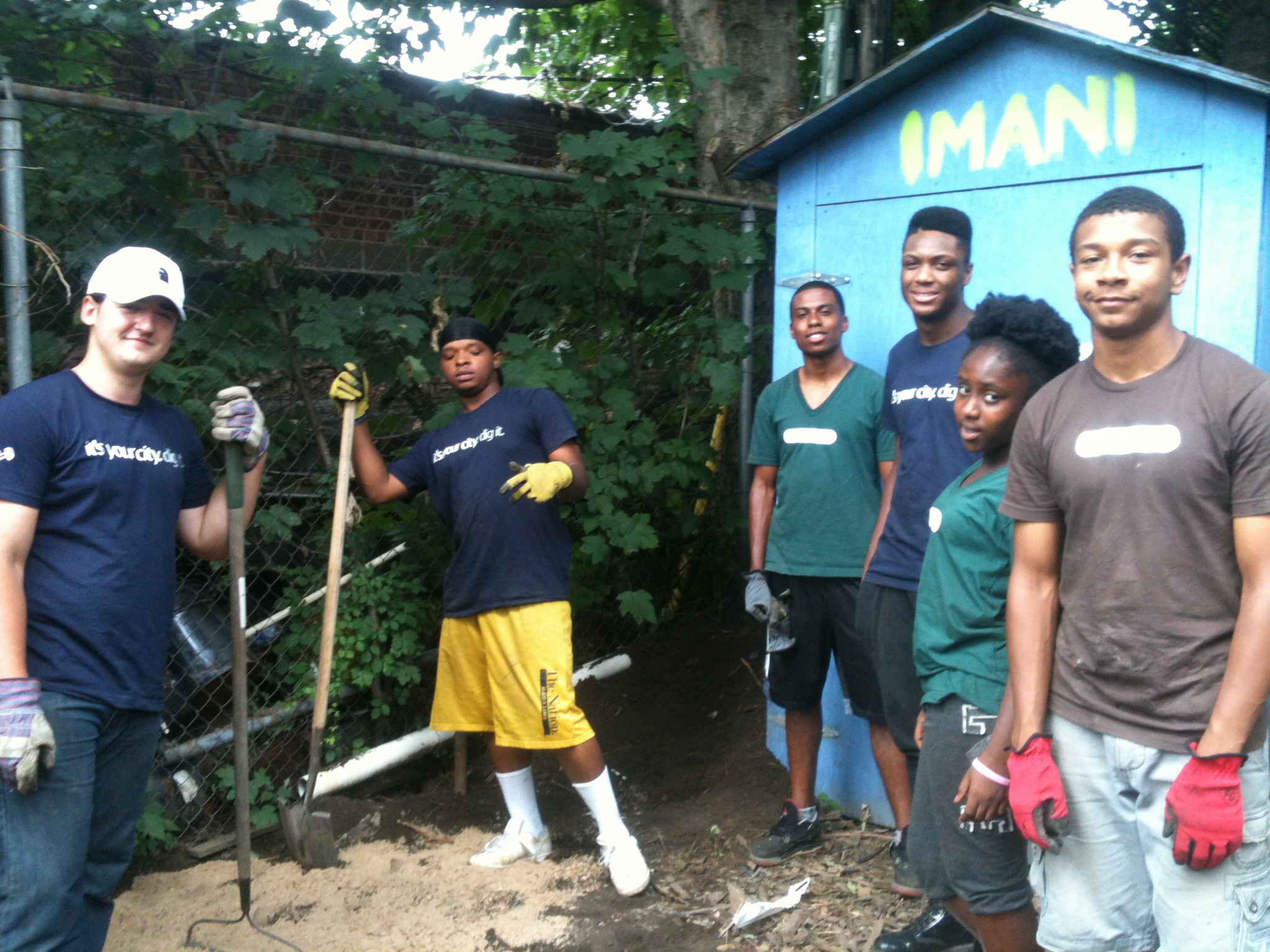Youth working at Imani Garden