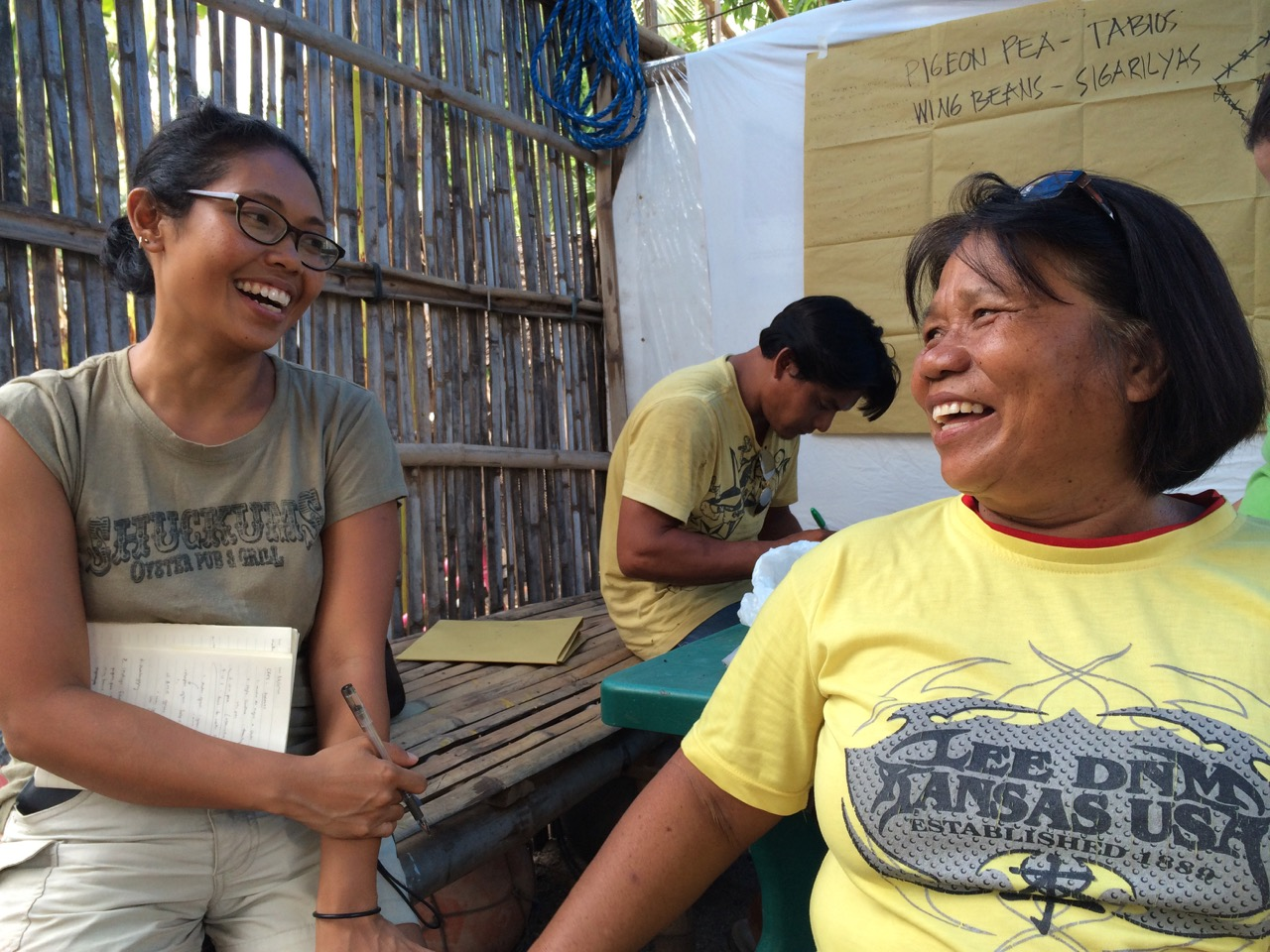 Empowering women post-Super Typhoon Haiyan: Two Filipina women exchange big smiles, Bantayan Island, Visayas, Philippines, 2015. Photo by Cecilia L