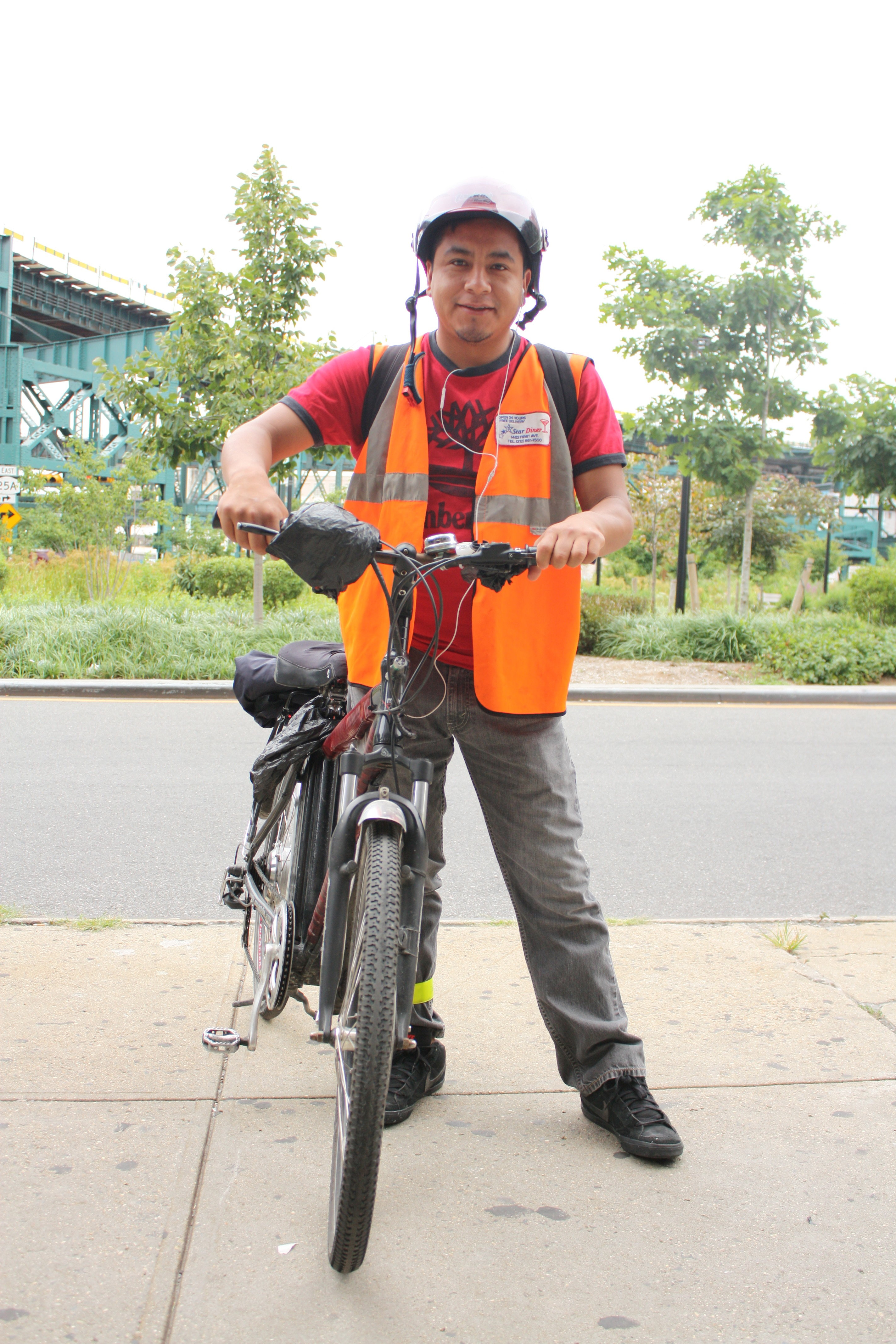 A delivery cyclist