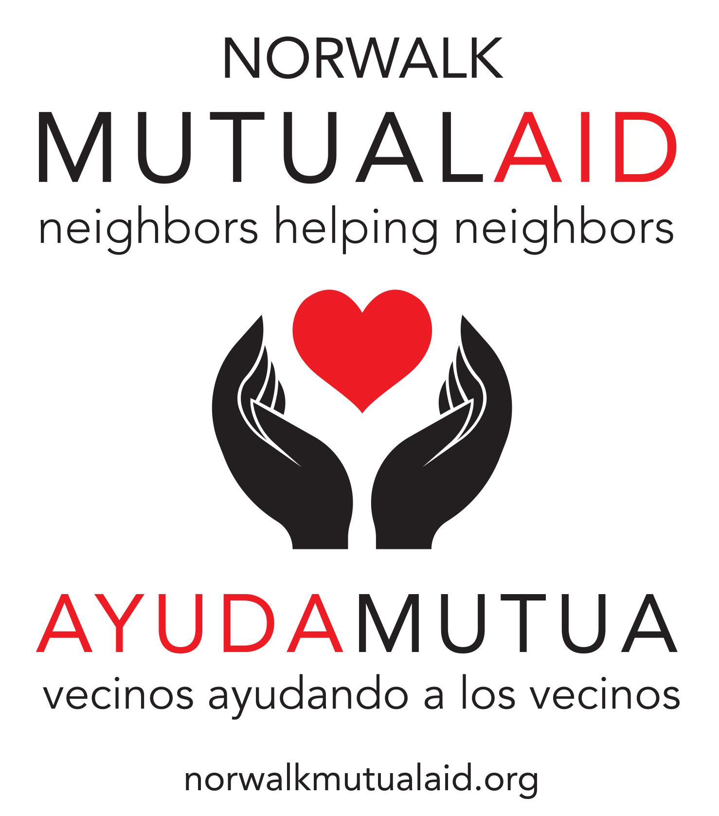 Norwalk Mutual Aid/Ayuda Mutua logo: two hands in black, with a red heart in between // dos manos de color negro, con un corazón rojo entre los dos