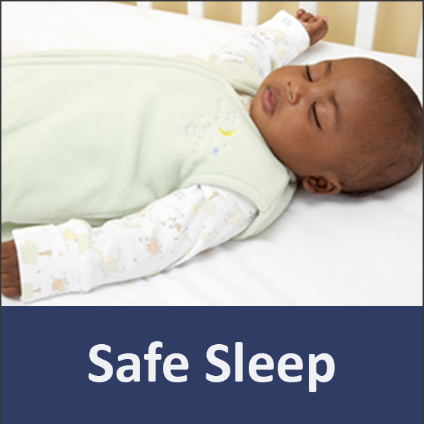 "photo of a sleeping infant with the words ""safe sleep"" below"