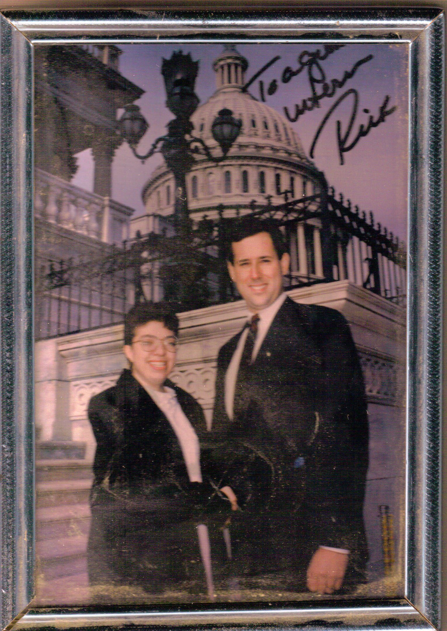 Sue Kerr posing with Rick Santorum