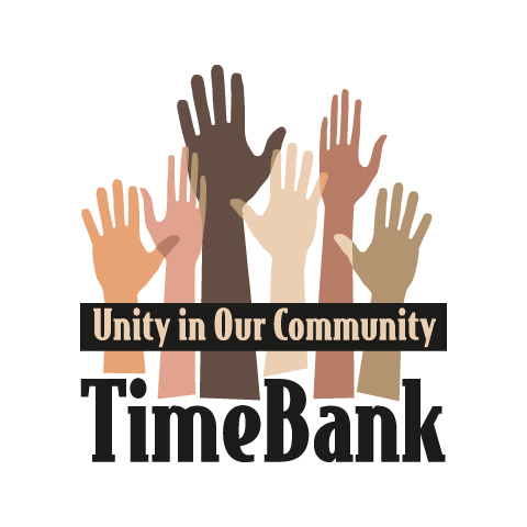 TimeBank logo with different colored hands reaching up