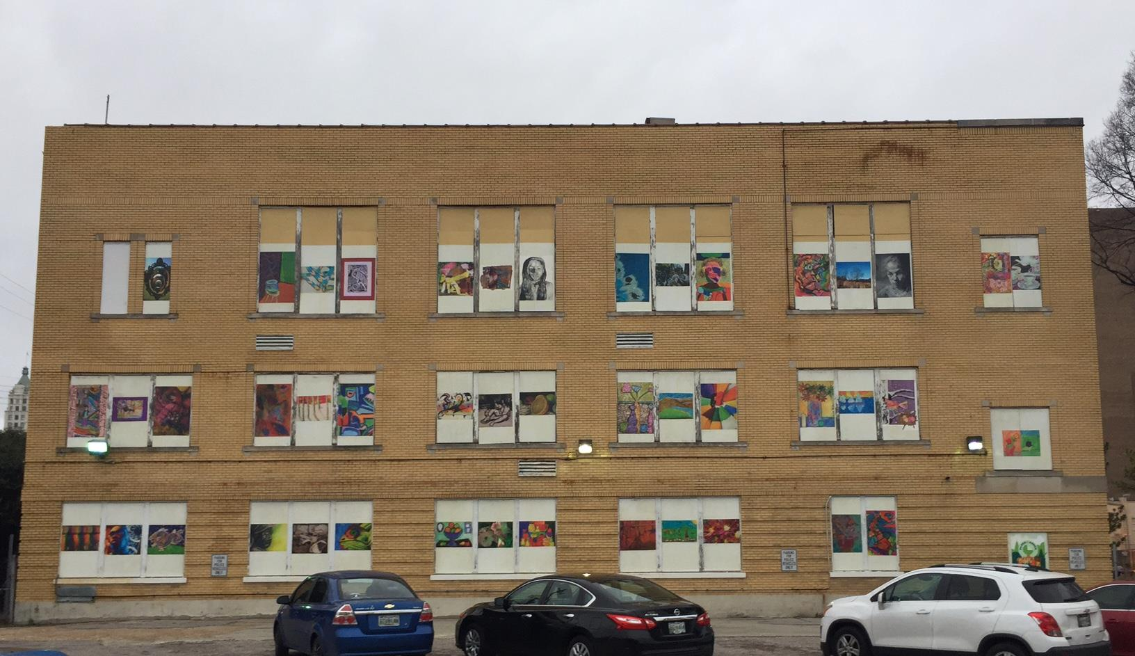 247 Washington Ave, Wall completed with student artwork.