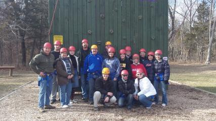 EXCEL XXIII Class at the Edge Challenge Course at Camp Windermere, Roach, MO