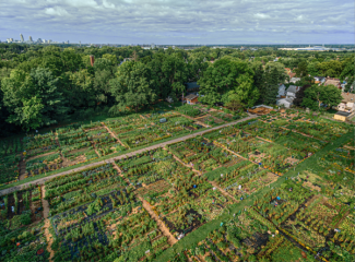 Aerial image of Ben Franklin Community Garden