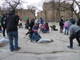 Local young people design their own labyrinth art at East River Park, 2016