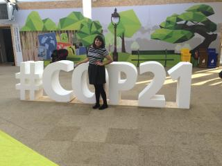 EcoWorks student Janette Flores at the Paris climate negotiations (2015)