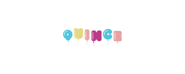 """The word """"Quince"""" written out in balloon letters"""