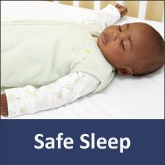 """photo of a sleeping infant with the words """"safe sleep"""" below"""