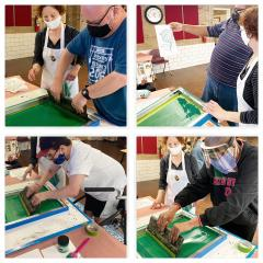 Silkscreen demo and logo design workshop with Catholic Charities Saturday Program for Adult Artists with Disabilities