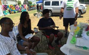 North Memphis residents discussing the Greenline at the Paint Memphis even of July 2015