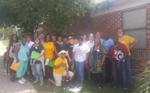 Neighborhoods United for Change participants outside of SLACO's offices