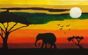 The animals of the Serengeti at sunset.