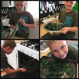 (from kale he grew himself!)